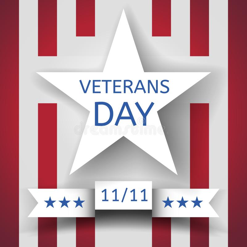 Veterans Day banner with a white star and a ribbon with the date November 11 on the background with red and white stripes. Eps10 vector stock illustration