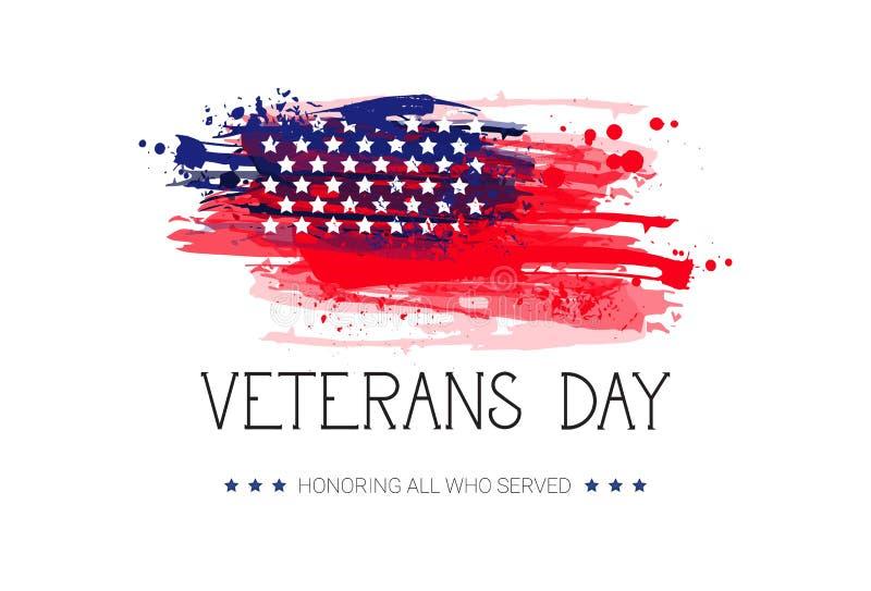 Veterans Day Celebration National American Holiday Banner Over Usa Flag Background. Vector Illustration stock illustration