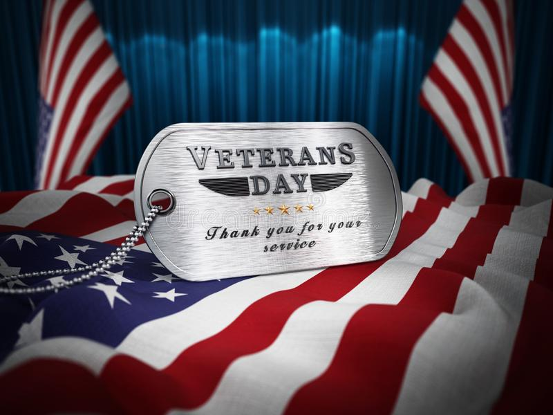 Veterans Day dogtag standing on American flag. 3D illustration.  vector illustration