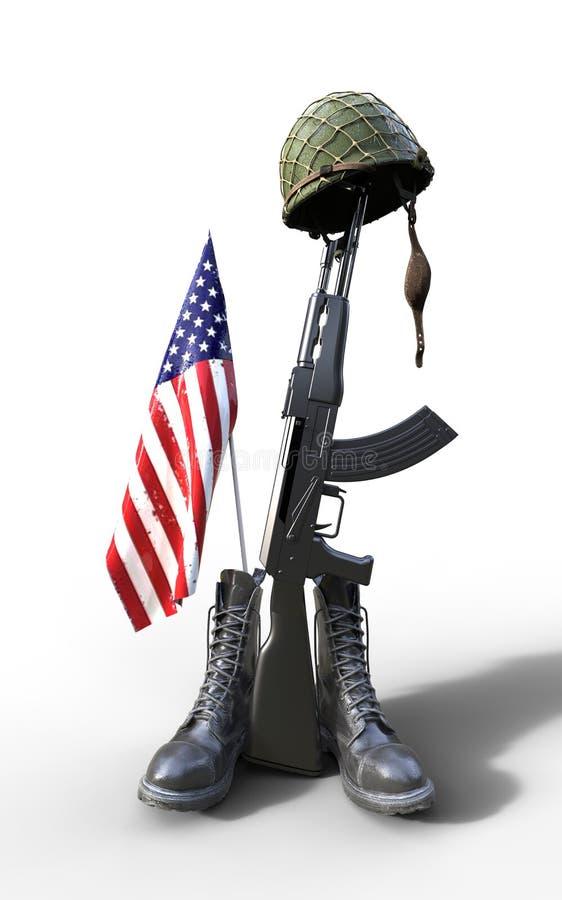 Veterans Day, Fallen soldier tribute. Helmet, gun, boots and flag, 3d render, 3d illustration vector illustration