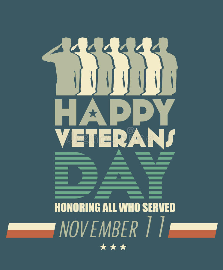 Veterans day greeting card with dark background stock illustration