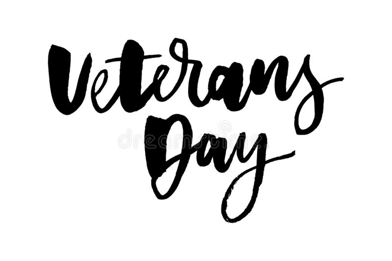 Veterans day greeting card with hand-drawn typographic design in vintage style vector illustration