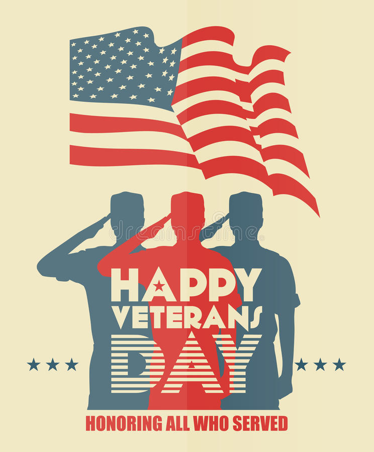 Veterans day greeting card. US soldier in silhouette saluting vector illustration