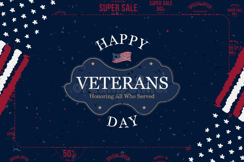 Veterans Day. Greeting card with USA flag on background with Super Sale 50 offer. National American holiday event. Flat vector. Illustration EPS10, map, soldier stock illustration