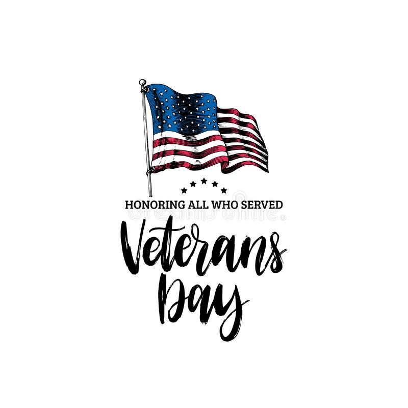 Veterans Day, hand lettering with USA flag illustration in engraving style. November 11 holiday background. vector illustration