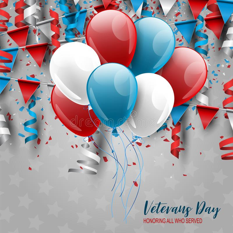 Veterans Day. Honoring all who served. USA banner or poster background with stars. National holiday design concept. Red and blue b royalty free illustration