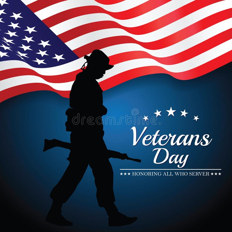 Veterans day. Honoring all who served. Vector illustration Eps 10 royalty free illustration