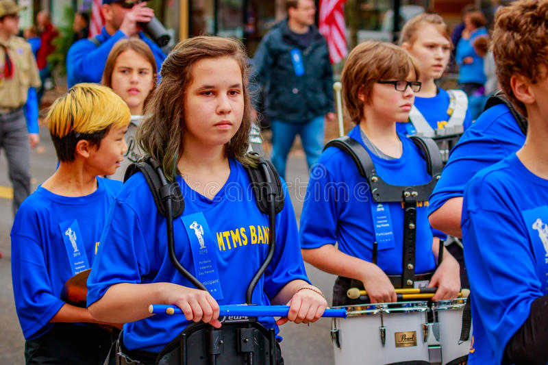 Veterans Day Parade 2016. Portland, Oregon, USA - November 11, 2016: Mt. Tabor Middle School Marching Band in the annual Ross Hollywood Chapel Veterans Day royalty free stock photography