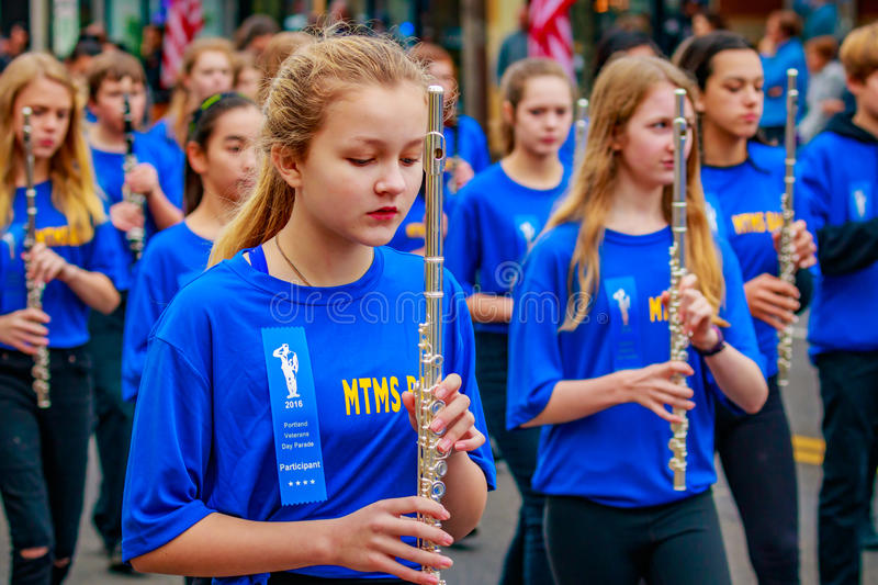 Veterans Day Parade 2016. Portland, Oregon, USA - November 11, 2016: Mt. Tabor Middle School Marching Band in the annual Ross Hollywood Chapel Veterans Day royalty free stock images