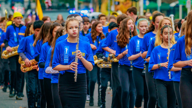 Veterans Day Parade 2016. Portland, Oregon, USA - November 11, 2016: Mt. Tabor Middle School Marching Band in the annual Ross Hollywood Chapel Veterans Day stock image