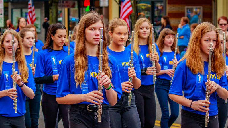 Veterans Day Parade 2016. Portland, Oregon, USA - November 11, 2016: Mt. Tabor Middle School Marching Band in the annual Ross Hollywood Chapel Veterans Day stock photos