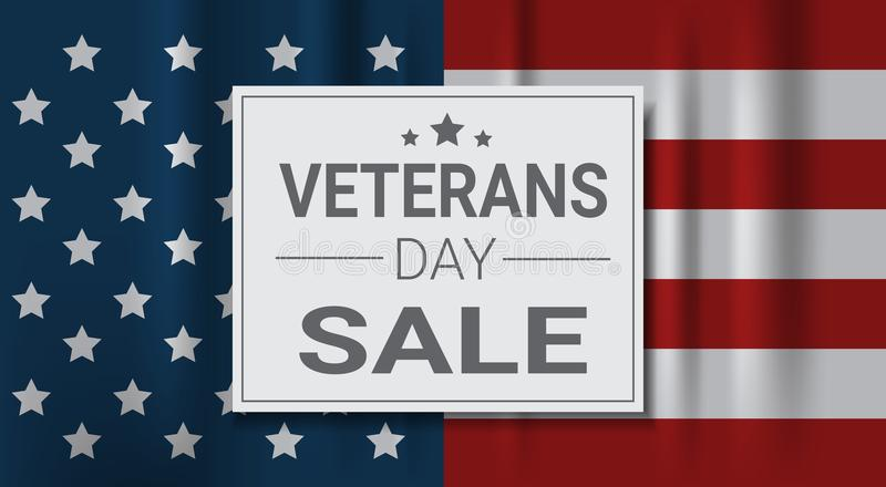 Veterans Day Sale Celebration Shopping Promotions And Price Discount National American Holiday Banner stock illustration
