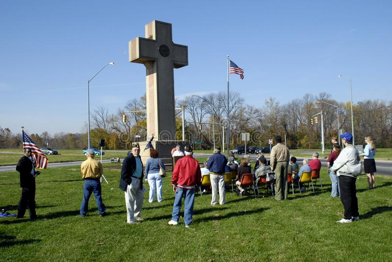 Veterans Day services were held at Peace Cross royalty free stock images