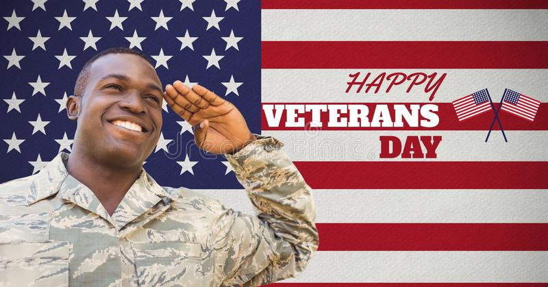 veterans day soldier in front of flag vector illustration