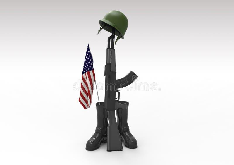 Veterans day symbol. Fallen soldier tribute, helmet, gun, boots and flag, 3d render royalty free illustration