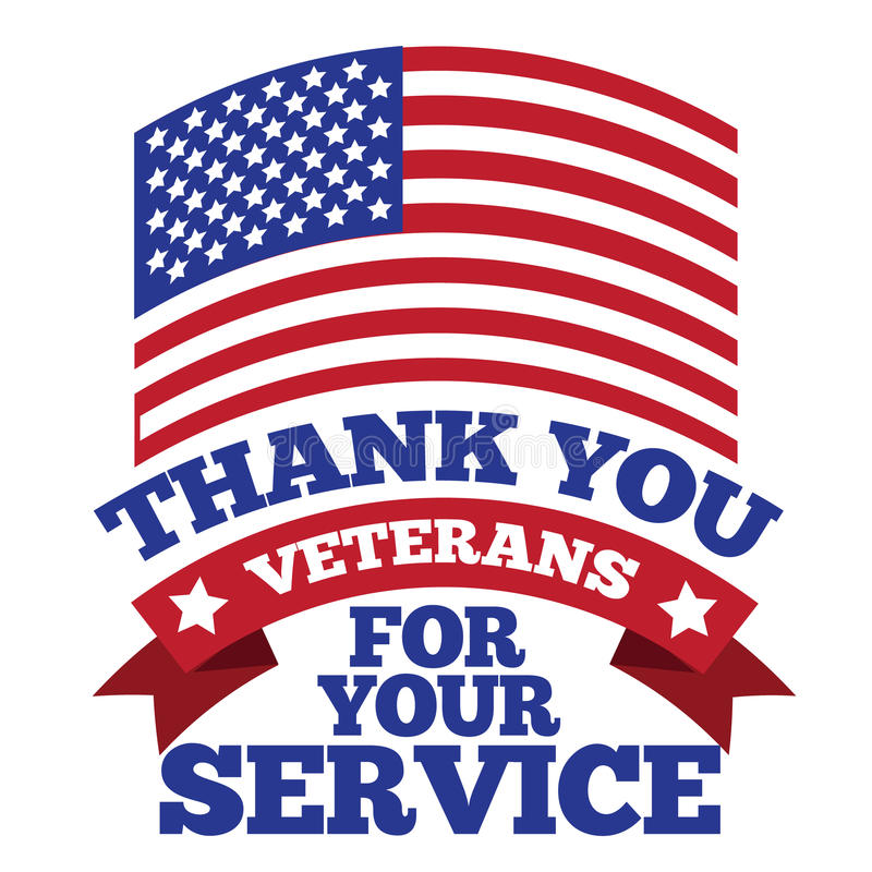 Veterans day thank you design stock vector illustration for Free fishing license for veterans