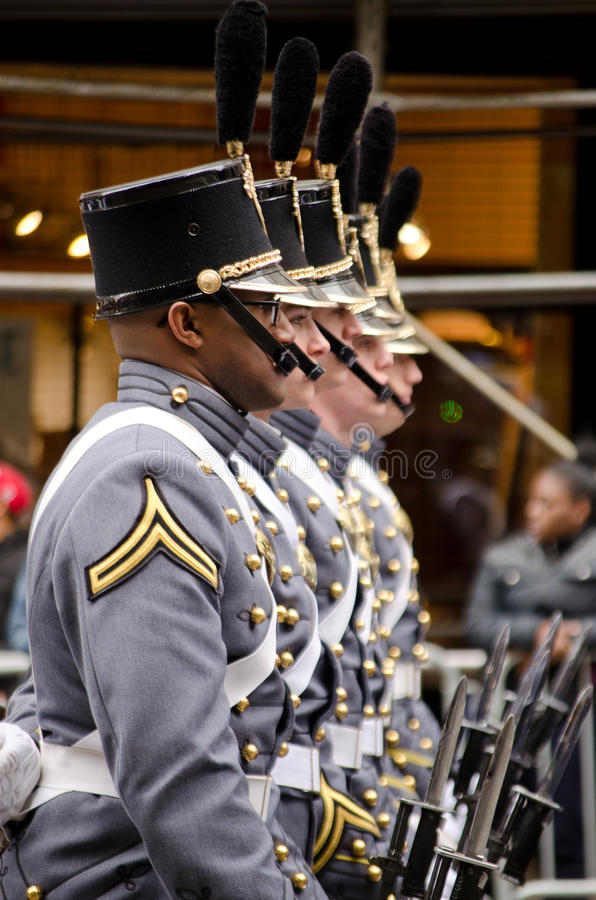 Military academy cadets march in a Veterans Day parade New York City November 2015. US military academy cadets march in a veterans day parade stock images