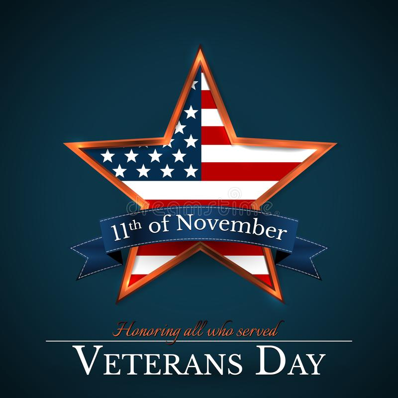 Veterans Day of USA with star in national flag colors american flag. Honoring all who served. Vector illustration stock illustration