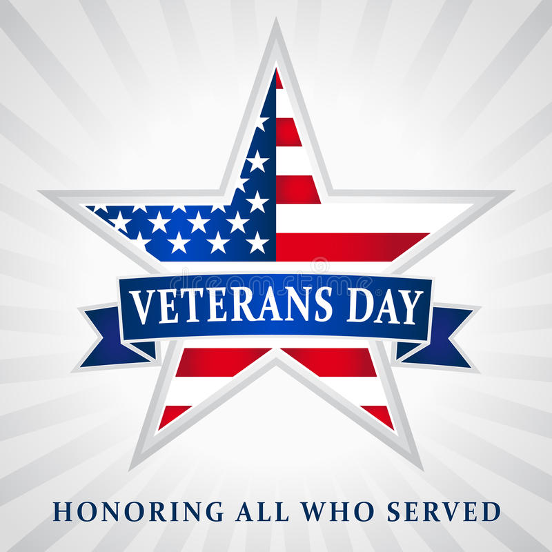 Veterans day USA star ribbon. Veterans day Honoring all who served, USA flag on background in star royalty free illustration