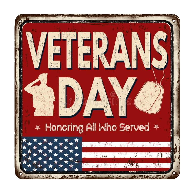 Veterans day vintage metal sign vector illustration