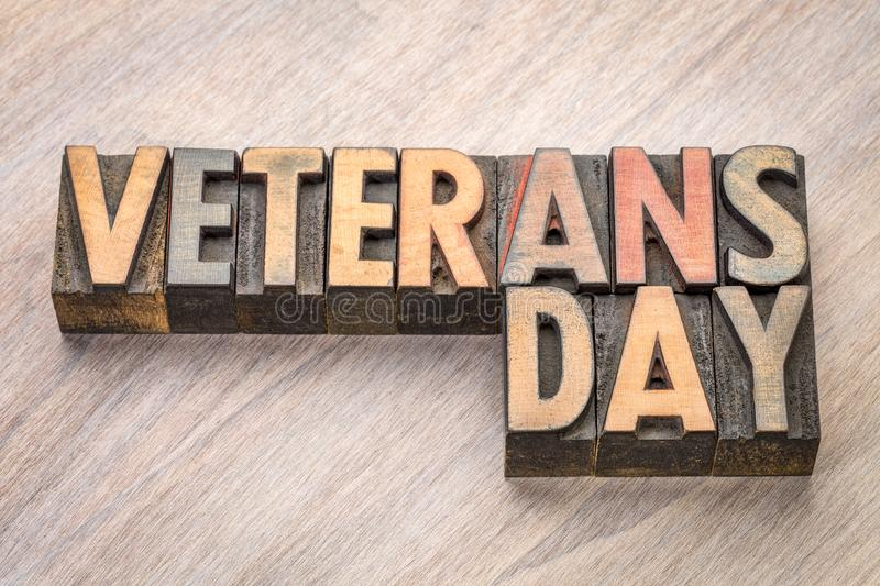 Veterans Day - word abstract in wood type. Veterans Day - word abstract in vintage letterpress wood type blocks royalty free stock photo