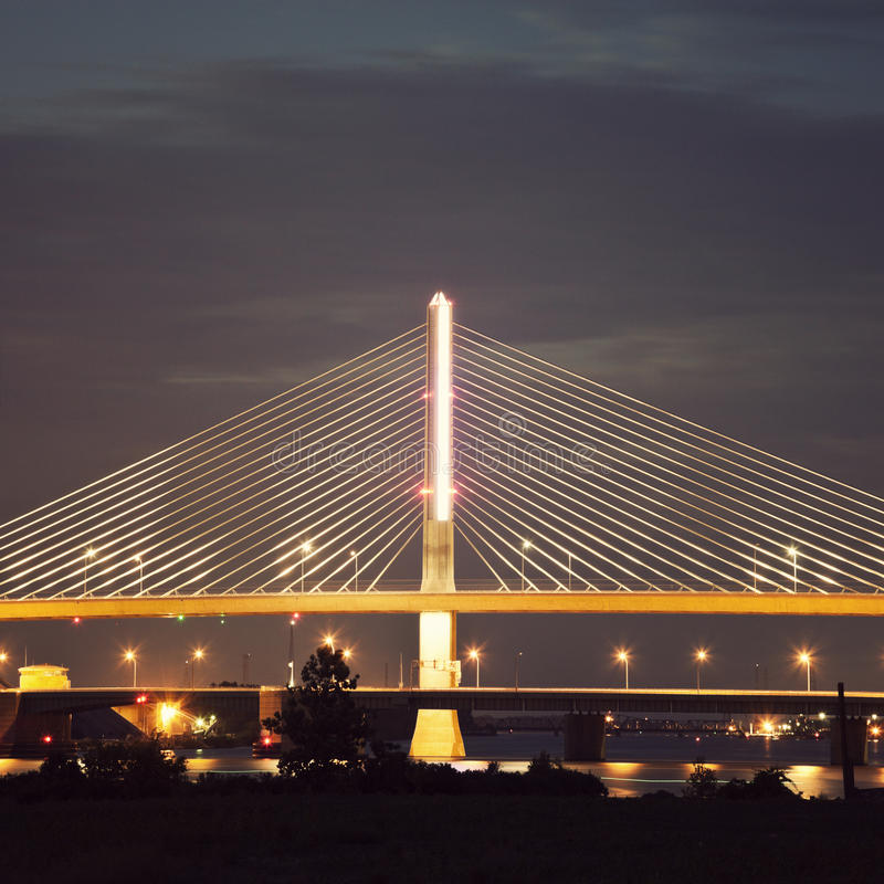 Veterans' Glass City Skyway Bridge in Toledo. (Toledo Skyway Bridge), Ohio stock photo