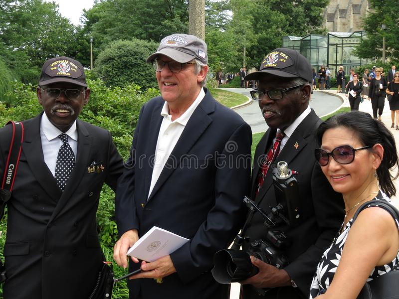Veterans, Man and Woman at the National Cathedral. Photo of veterans, man and woman at the national cathedral in washington dc on 9/1/18 after a funeral for royalty free stock images