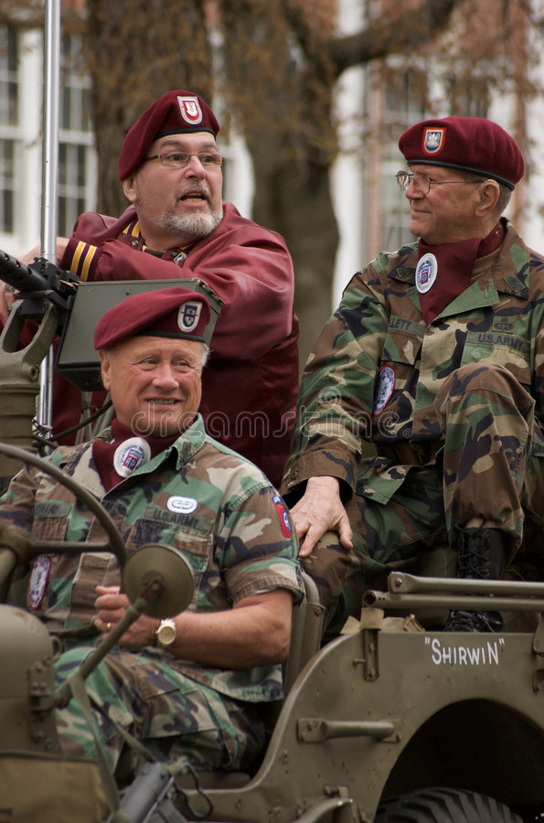 Veterans on Military Vehicle royalty free stock image