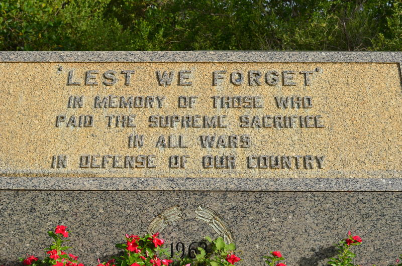 Veterans Monument. In Memory of those who paid the supreme sacrifice. Veterans Memorial Island Sanctuary in Vero Beach, Florida stock photo