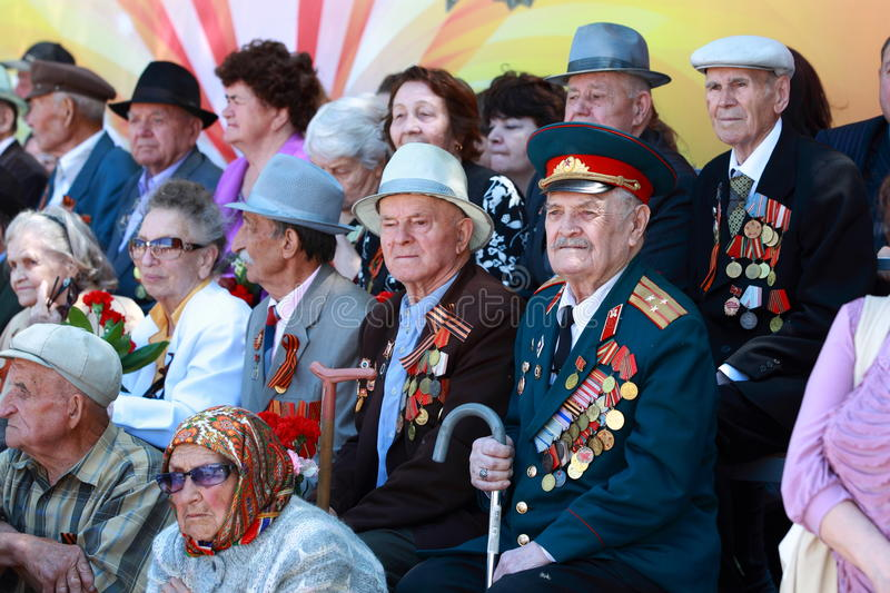 Veterans of the WWII during the parade royalty free stock photos