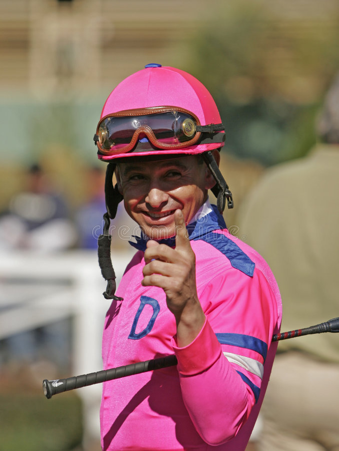 Veteranthoroughbred-Jockey Mike Smith stockbild