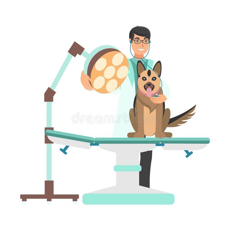Veterinário com o cão na ilustração da clínica do veterinário ilustração stock