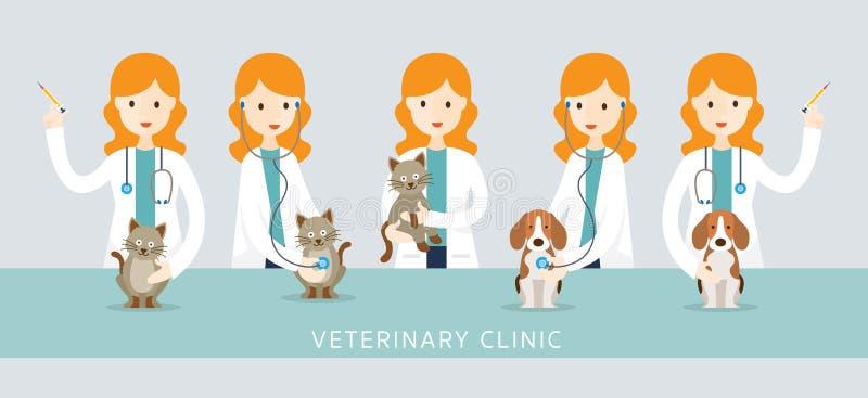 Veterinário fêmea Checkup Pets ilustração do vetor