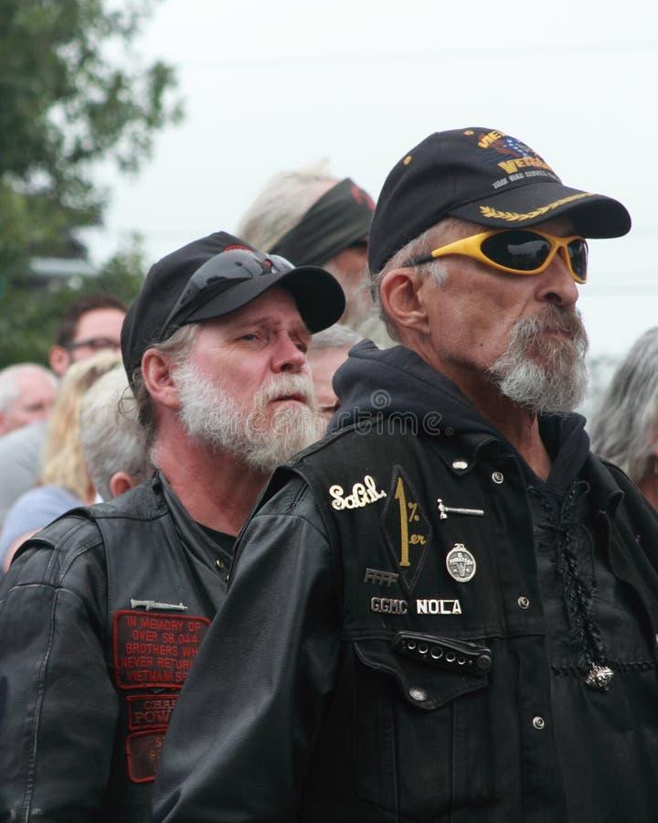 Veterinários do clube da motocicleta de One-percenter em economias nossa reunião transversal, Knoxville, Iowa imagem de stock