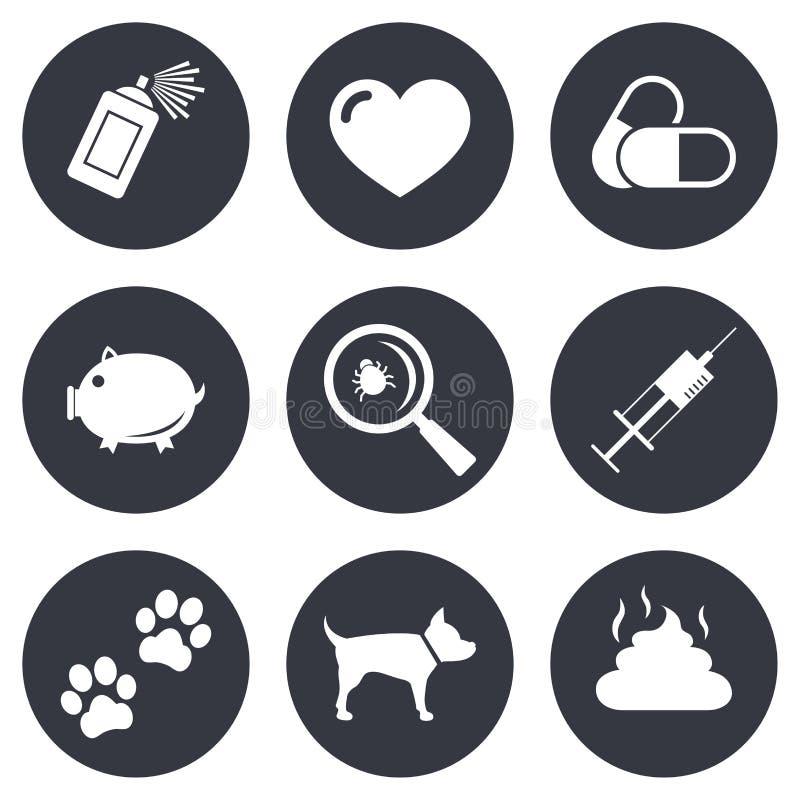 Veterinär- husdjursymboler Hunden tafsar, injektionssprutatecken stock illustrationer