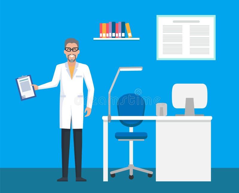 Veterinär- klinik, rumdoktor med mappskrivplattan vektor illustrationer