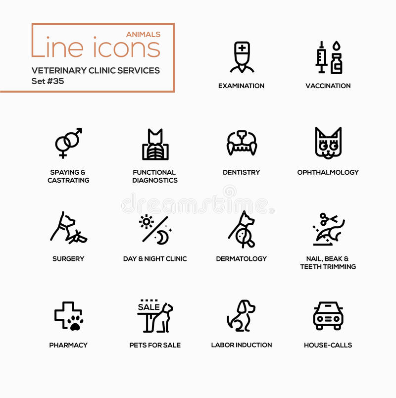Veterinär- klinikservice - ställde den enkla linjen in symboler för den moderna vektorn royaltyfri illustrationer