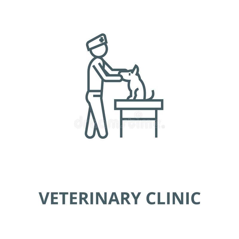 Veterinär- klinikvektorlinje symbol, linjärt begrepp, översiktstecken, symbol royaltyfri illustrationer