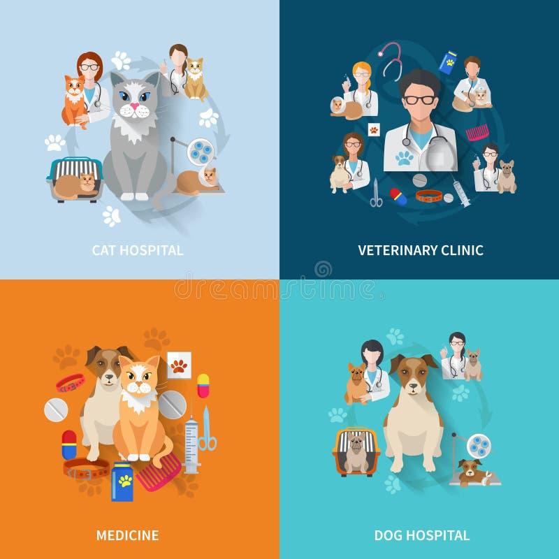 Veterinär- lägenhetuppsättning vektor illustrationer