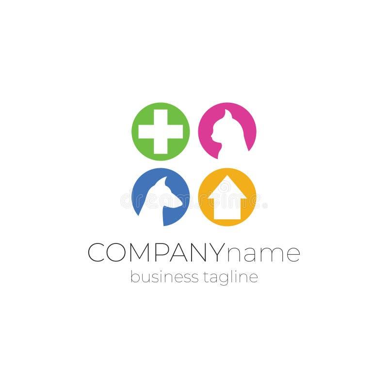 Veterinär- logodesign - hund, katt, plus hälsa, hus royaltyfri illustrationer