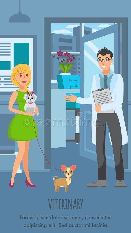 Veterinär- mall för konsultationaffischvektor stock illustrationer