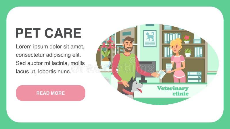 Veterinär- mall för vektor för kliniklandningsida royaltyfri illustrationer