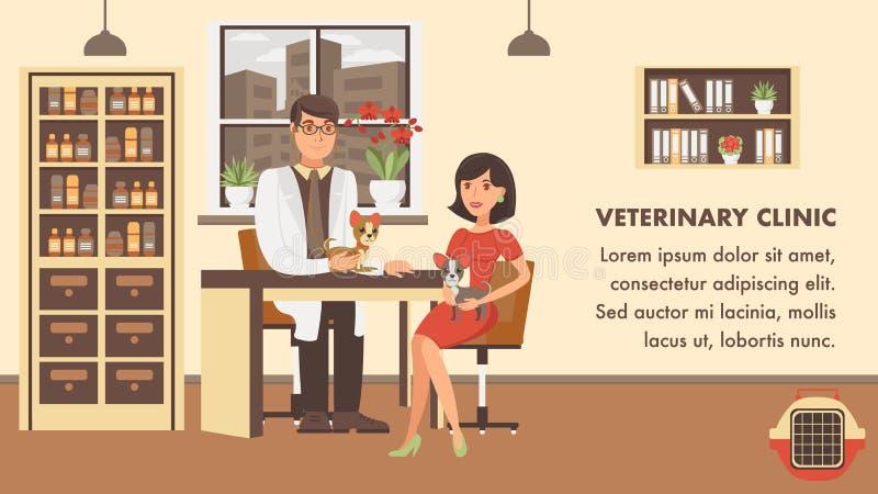 Veterinär- mall för vektor för undersökningbanerfärg royaltyfri illustrationer