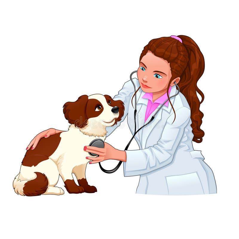 Veterinär- med hunden royaltyfri illustrationer