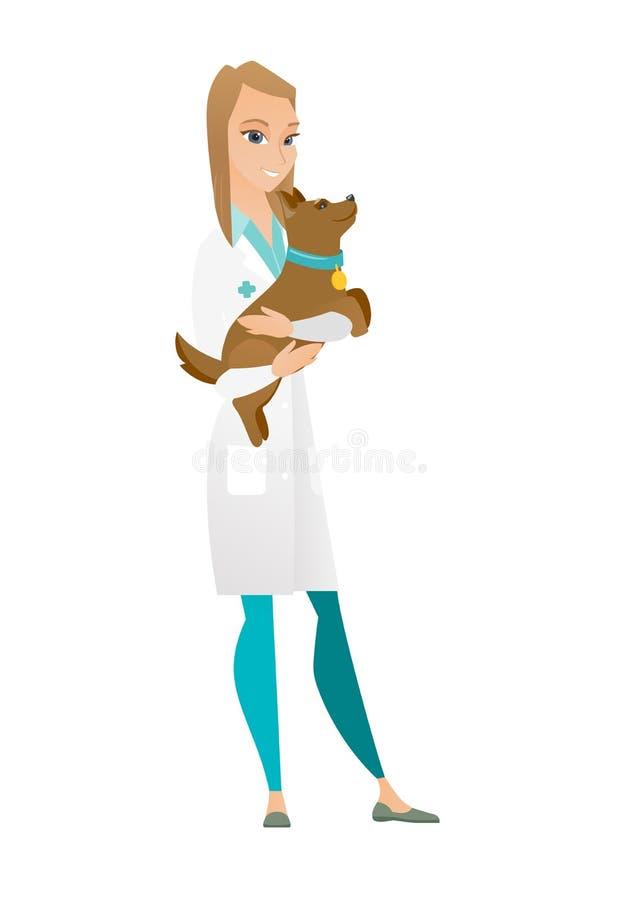 Veterinär med hunden i handvektorillustration stock illustrationer