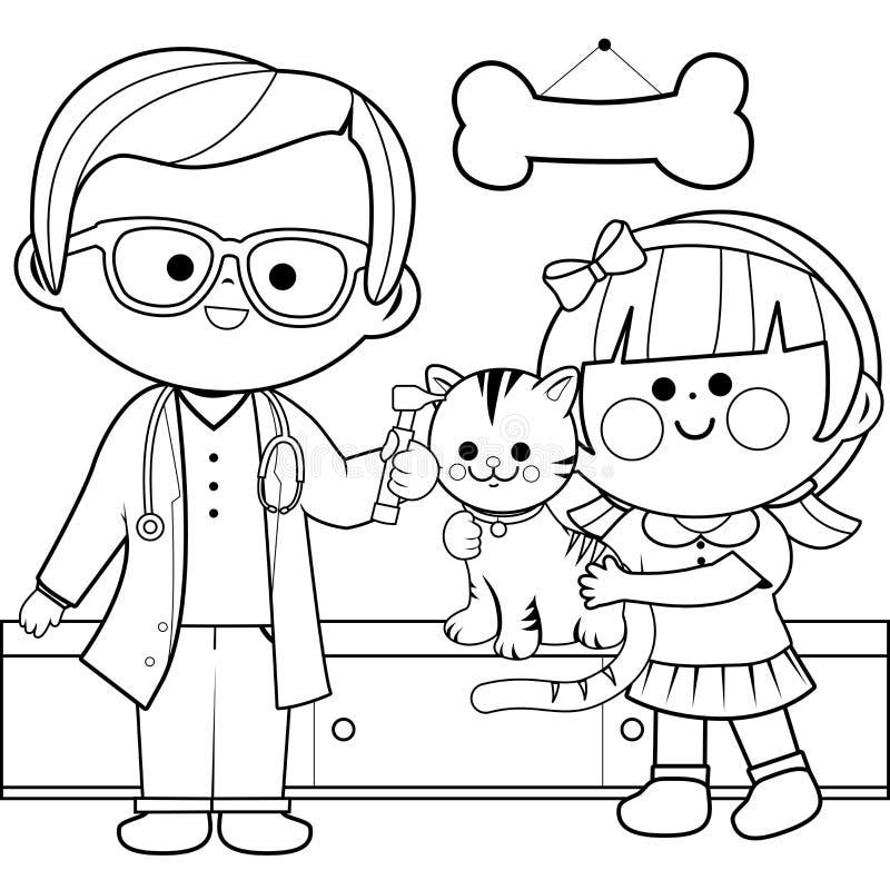 Veterinär som undersöker en katt Sida för färgläggningbok stock illustrationer