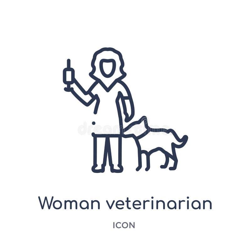 Veterinär- symbol för linjär kvinna från damöversiktssamling Tunn linje veterinär- symbol för kvinna som isoleras på vit bakgrund vektor illustrationer