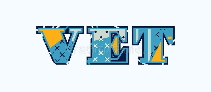 Veterinärbegreppsord Art Illustration royaltyfri illustrationer