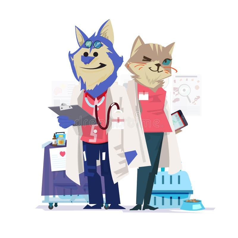 Veterinair hond en kattenkarakterontwerp arts en verpleegster - ve vector illustratie