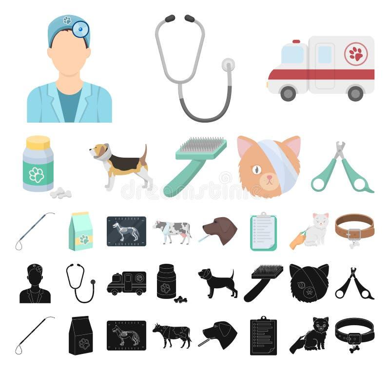Veterinair kliniekbeeldverhaal, zwarte pictogrammen in vastgestelde inzameling voor ontwerp Behandeling van een de voorraadweb va royalty-vrije illustratie